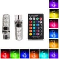 Lampu LED Motor Mobil / Lampu Senja RGB T10 5050 SMD 16 Warna + Remote