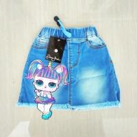 Rok Jeans/ Denim Pendek/Mini Anak Wanita/Perempuan Gambar LoL Biru