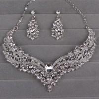 Perhiasan set pesta kalung dan anting JS25