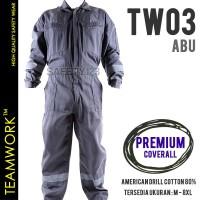 TW03 TeamWork Coverall Premium Baju Terusan Kerja K3 Pabrik Proyek Abu