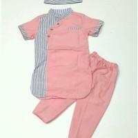 Baju Muslim Gamis Koko Anak bayi laki 2 3 4 tahun setelan hijab pink