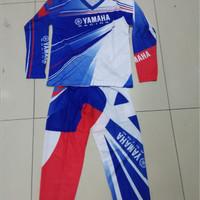 baju tidur anak Setelan Motor Cross / Baju MotorCross yamaha biru