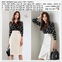 Setelan Baju Kemeja Wanita Rok Span Midi Putih Korea Import AB736870