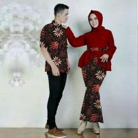 TERBARU couple pria wanita gamis kemeja maxi batik kapel baju bagus