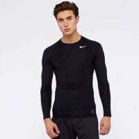 Kaos Baju Manset Baselayer Gym Fitness Pria   Nike Hitam No Thumbhole
