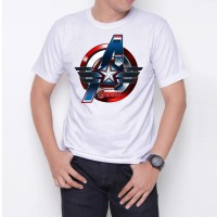 avenger captain america W6288 Kaos Distro Custome Putih Ukuran M,L,XL