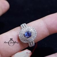 Cincin berlian eropa + batu blue safir emas putih motif lady di