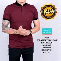 KGK polo shirt pria baju kaos cowok kerah SHANGHAI MARON LIST BLACK