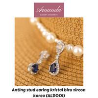 Anting stud earing kristal biru zircon korea uk 3 x 1 cm mungil ALD001