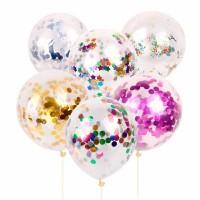 Balon PREMIUM TRANSPARAN ISI glitter gabus foil gliter