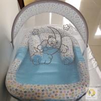 Kasur Bayi/ Baby Matras merk Omiland set kelambu warna biru