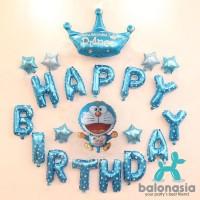 Balon Foil Doraemon Crown Prince Biru Set