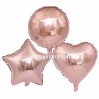 Balon Foil Rose Gold Size 10 inch / 25 cm, Hati/Love, Star/Bintang