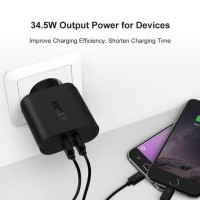 Charger Aukey 2 Port Fast Charging Usb Quick Charge 3.0 Pa T13 For