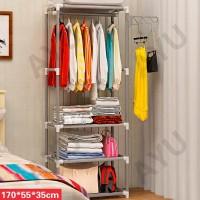 Square steady stand hanger rak buku rak lemari pakaian tanpa cover - Abu-abu