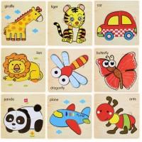 Mainan Edukatif / Jigsaw Puzzle / Puzzle Kayu Anak Timbul 3D Lucu