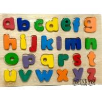 Mainan Edukasi Anak - Puzzle Chunky Kayu Alphabet Huruf Kecil Natural
