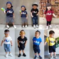 Baju Anak Fila Kids M Dan S Warna Putih Hitam Navy / Tshirt Kaos Lucu