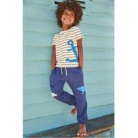 Baju Setelan Anak Laki Jumping Beans Jangkar Garis Coklat Celana Biru