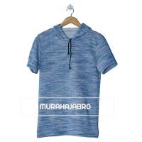 Baju Kaos Polos Hoodie Lengan Pendek - New Bluemisty