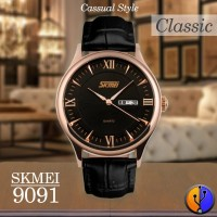 Jam Tangan Analog Pria SKMEI 9091 Leather Original Water Resist