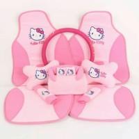 sandaran jok & cover stir & bantal mobil Hello kitty pink set