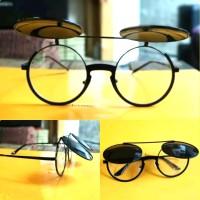kacamata hitam clip on bulat clasic