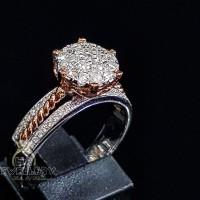Cincin berlian asli fashion wanita 0.48 ct bahan emas putih kode 752
