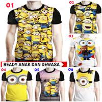 Baju Kaos Minions 3d Fullprint - Kaos Minion Anak dan Dewasa