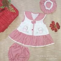 Dress/ Baju bayi perempuan Hello Kitty 3 in1 0-6 bulan + topi + celana