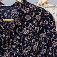 Dress Panjang / Baju Fashion Wanita Vintage / Gamis Motif Bunga