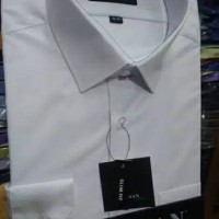 Baju Kerja Pria Alisan Lengan Panjang Slim Fit warna Putih Murah
