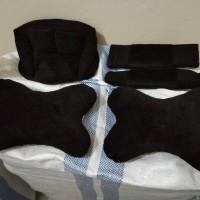 Bantal Mobil 3in1 HITAM POLOS Car Set Pillow Sandaran Kepala 3 in 1