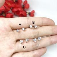 Anting Tusuk Xuping Asli Lapis Emas Putih 4mm Silver Berlian - BE211