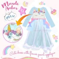 Gamis Karakter Anak Baju Muslim Dress Unicorn Face Biru MA-32D 95-140