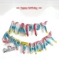Balon Foil Huruf Set Happy Birthday rainbow / paket huruf hbd pelangi