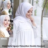 Hijab Bella Square Polycotton Jilbab Segi Empat Polos Warna Putih