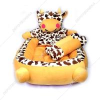 Kasur tempat tidur bayi plus bantal guling karakter sapi coklat PROMO