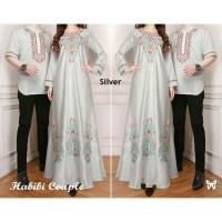 Couple Lebaran Terbaru / Baju Couple Muslim / Cp Maxi Habibi Silver