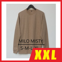 Kaos Polos XXL LS MILO MISTY / Baju Polos Jumbo Coklat Susu Panjang