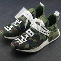 Sepatu Adidas Nmd Human Race Bape X Pharrel Wlliams Camo Green