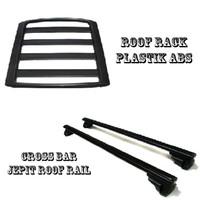 Paket Roof Rack & Cross Bar Model Jepit Roof Rail Mobil datsun go