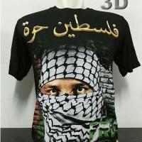 Baju Kaos Unik SORBAN PALESTIN Muslim Warna Hitam All Size Pria Wanita