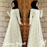 Baju Gamis Lebaran / Gamis Maxi Modern / Maxi Brukat Zafana Putih