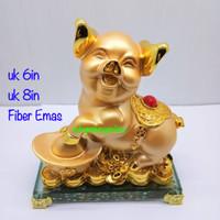 Patung Babi Shio Emas uk 6in