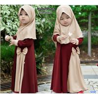 gamis nana kids maroon/dress gamis syari anak cewek/baju muslim anak