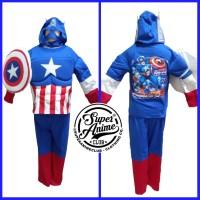 Kostum Busa Anak Captain America Otot Baju Superhero Setelan Karakter - 4
