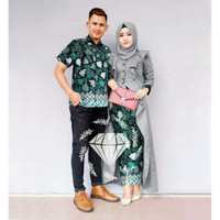 AGS Couple Ratumelina batik maxi kemeja pakaian muslim wanita pria