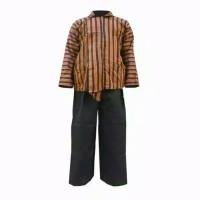 Surjan Lurik Pria+Celana Panjang/Baju Adat Jawa/ Tenun Khas Solo Jogja