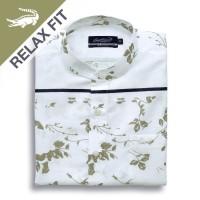 KOKO White Bloom - Men Shirt Crocodile Kemeja Lengan Pendek - Relax Fi